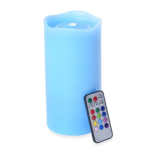 Shop LC Delivering Joy Home Decorations Blue with Multi Color LED Water Flame Candle Fountain with Remote Battery Operated Environment Friendly
