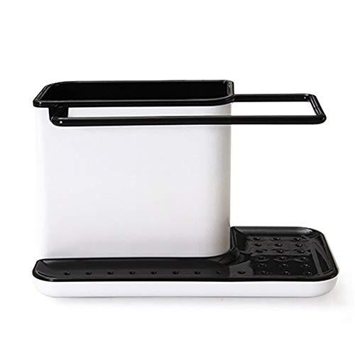 XZJJZ Estante multifuncional para cocina, organizador de trapos, estante de almacenamiento de cocina para esponja, dispensador de jabón, depurador y otros accesorios para lavavajillas (color negro)
