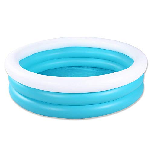 HIWENA Inflatable Kiddie Pool, 5ft Durable Kids Pool, Blue & White Baby Pool