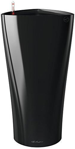 Vaso in Resina per Piante Lechuza Delta 40 Set Completo - Nero Lucido