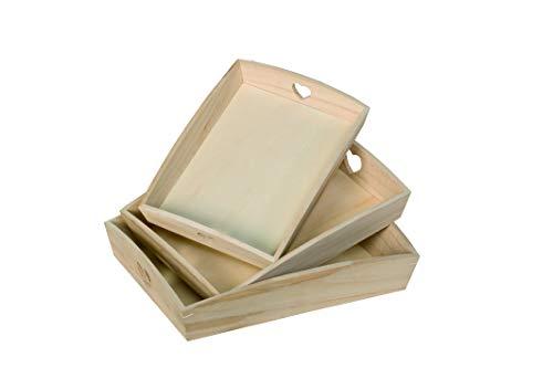 Artemio VIPBC - Juego de 3 bandejas rectangulares con Corazones calados, Madera, Beige, 35 x 6,5 x 27 cm