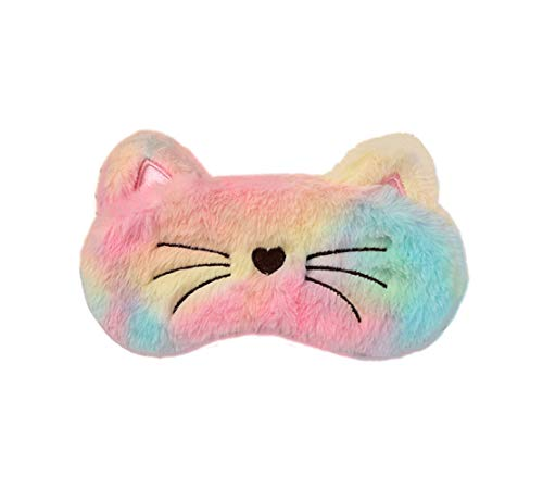 Monai Cute 3D Sleep Travel Nap Night Mask Soft Plush Blindfold Unicorn Sleeping Home Eye Cover for Women Girls Kids (Rainbow-cat)