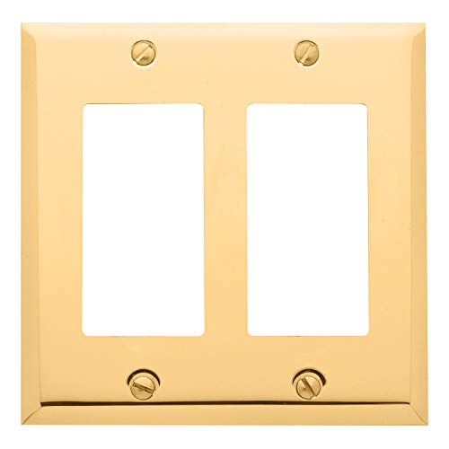 Baldwin Estate 4741.030.CD Square Beveled Edge Double GFCI Wall Plate in Polished Brass, 4.5' x 4.5'