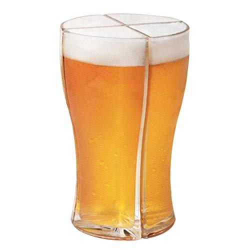 Juego de jarras de cerveza acrílicas 4 en 1, diseño innovador 4 en 1 interconectado, fácil de transportar 4 jarras de cerveza a la vez, vitrina para fiestas, jarra de cerveza de vidrio resistente