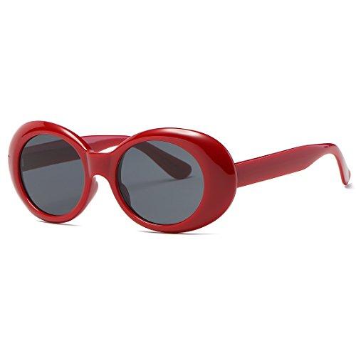 kimorn Clout Goggles Occhiali Da Sole Per Donna Ovali Telaio Cerniere In Metallo Bicchieri K0567 (Rosso&Nero)