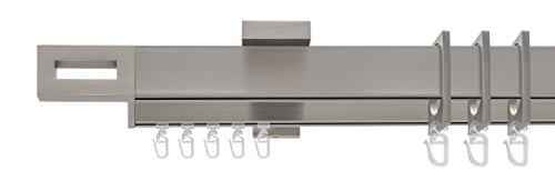 Liedeco® Gardinenstange, Stilgarnitur, Vorhangstange Cubis / 2-läufig in eckigem Design mit Zubehör