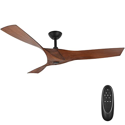Hykolity 52 Inch Minimalist Style DC Motor Ceiling Fan with 3 Walnut ABS Reversible Blades, ETL Listed Indoor Ceiling Fans for Kitchen, Bedroom, Basement, Living Room, No Light with Remote Control