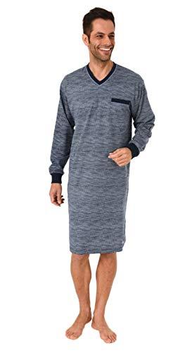 NORMANN-Wäschefabrik Herren Nachthemd Langarm - auch in Übergrössen bis Grösse 70 - Minimalprint - 291 90 431, Größe2:52, Farbe:blau