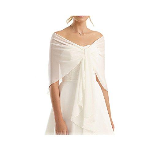 CoCogirls Chiffon Stola Schal für Kleider in verschiedenen Farben zu jedem Brautkleid - Abendkleid, Hochzeit Abend Gala Empfang (One-Size, Ivory 11)
