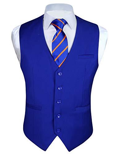 Enlision Men's Suit Vest Business Formal Dress Waistcoat Cotton Solid Color Vest for Suit or Tuxedo Royal Blue