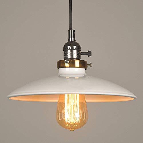 IGOSAIT Kronleuchter, E27, Industrie-Stil, Hängeleuchte mit UFO-Eisen-Untertasse, Lampenschirm, 27 cm, Weiß