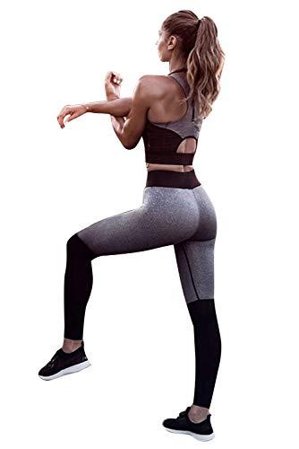 Abbigliamento Sportivo Donna Fitness Completo Tuta da Ginnastica Donna 2 Pezzi Reggiseno Sportivo e Leggins Push Up Vita Alta Tinta Unita Tute Aderenti Crop Top e Pantaloni Lungo Estivo Sportwear