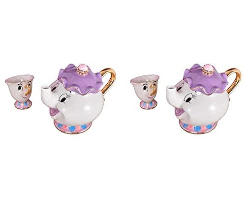 Juego de tetera y taza de té con diseño de la señora Potts de Beauty and The Beast (2 unidades)