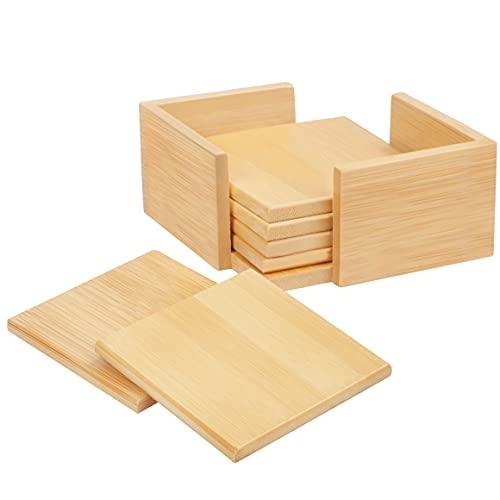 BELLE VOUS Posavasos Madera de Bambú (Pack de 6) 9,2 x 9,2 cm - Posavasos Bambu con Soporte para Cualquier Superficie Mesa de Centro, Incluyendo Madera, Vidrio, Mármol, Granito y Piedra
