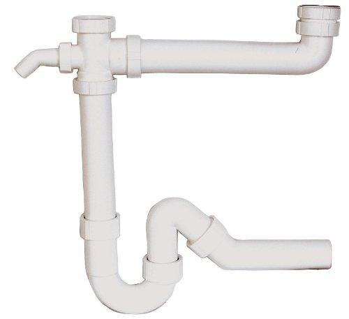 Röhrengeruchsverschluss für Doppelspülen | Kunststoff-Siphon | Geruchsverschluss für Küche | Doppel-Küchenspüle | 1 ½ x 40 mm