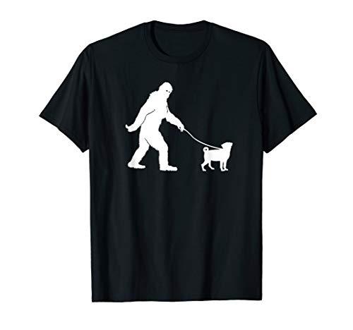 Bigfoot Sasquatch Walking Pug Dog Lovers Gift T-shirt