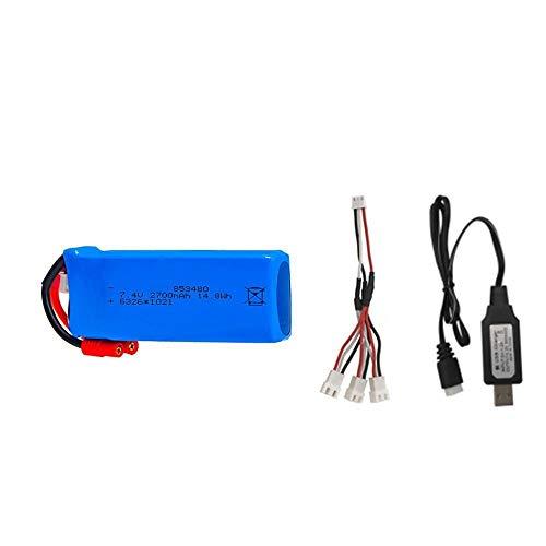 Styleart RC Lipo batería 2s 7,4 v 2700 mAh 25c y Cargador USB para Syma X8C X8W X8G X8 X8HC X8HG X8HW HQ899 T70CW RC Quadcopter Repuestos Navyblue
