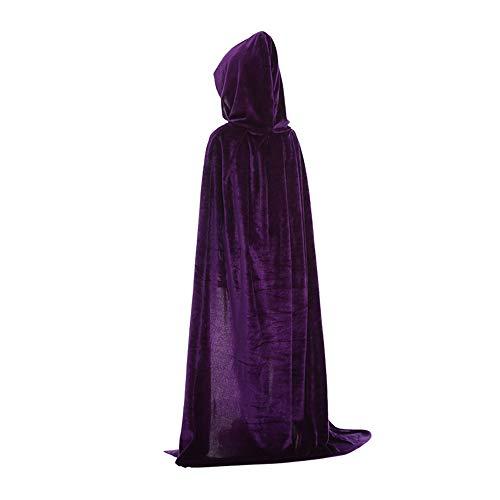 Meiju Kind Umhang Kleid mit Kapuze Lange Cape Vampir Kostüm Cosplay Umhang Prop für Halloween Masquerade (90cm,Lila)