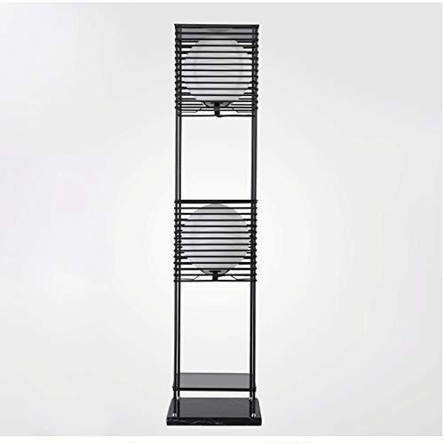 hkwshop Lámpara de Pie Lámpara de pie de Estante LED - luz de pie Moderna para Salones y dormitorios - Marco de Madera asiático con estantes de Caja Abierta LED Lámpara de Suelo