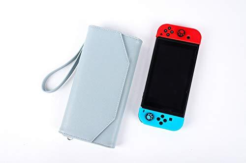 Nintendo Switchケース どうぶつの森 旅行用 携帯便利 6カード収納 大容量 PUレザー 保護カバー 手首と肩ストラップ付き 収納バッグ ブルー ピンク