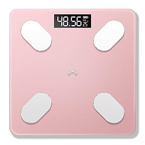 Scale,USB recargable, inteligente, BT, grasa corporal, escala electrónica, peso de medición con 59 datos del artículo, conexión BT, transmisión de voz