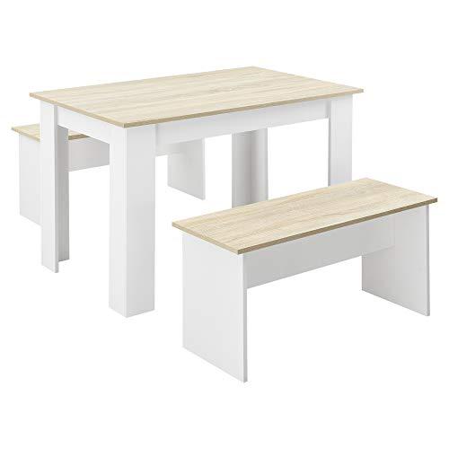 [en.casa] Tisch- und Bank Set 3 teilig Essgruppe für 4 Tisch 110 x 70 cm mit 2 Bänken Tischgruppe Sitzgruppe Weiß/Eiche