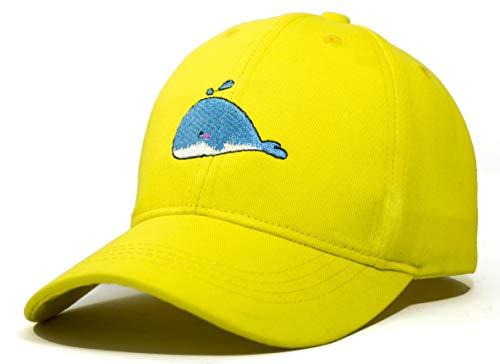 Coreteq Unisex Kids' Cotton Baseball Cap Whale Embroidery Adjustable Strap (Sunshine Yellow, Free Size)
