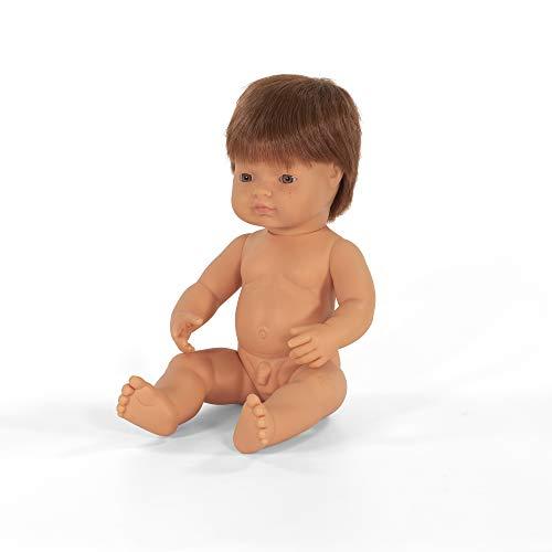 Miniland –Muñeco bebé Europeo Niño Pelirrojo. Vinilo Suave de 38cm. Rasgos étnicos y sexuado para el Aprendizaje de la Diversidad. Ligero y Agradable Perfume. Colección de Diferentes etnias y sexos.
