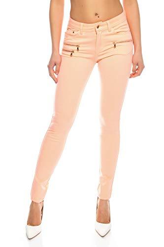 Crazy Age Damenhose Jegging Legging Zipper stylisch H086, 38, Lachs (Neon Pink)