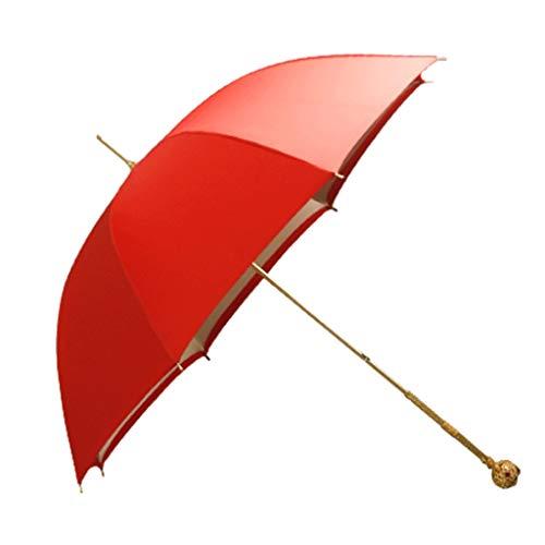 Damas Paraguas Rojo Creativo de Mango Largo Paraguas Hueco del Metal de la manija Recta del Viaje Paraguas Paraguas Doble Espesado Superficie