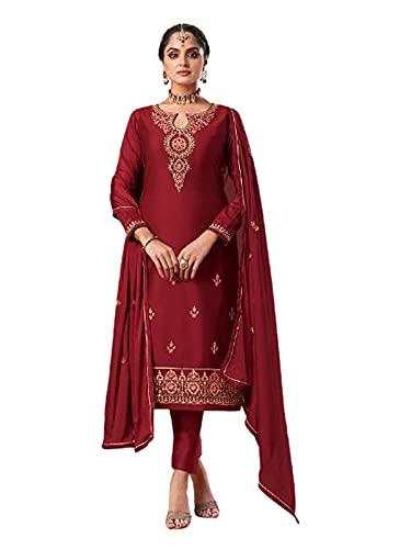 rojo Punjabi Mermelada Seda Festive Formal Musulmán Churidal Pajami Recto Mujer India Salwar kameez 6279 - - Large