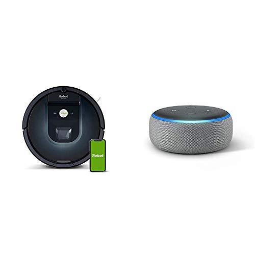iRobot Roomba 981 Saugroboter mit 3-stufigem Reinigungssystem, Raumkartierung, Teppich-Turbomodus, App-Steuerung + Echo Dot (3. Gen.) Intelligenter Lautsprecher mit Alexa, Hellgrau Stoff