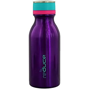 reduce COLD-1 Stainless Steel Vacuum Insulated Hydro Pro Bottle with Nonslip Rubber Base, 414mL - Tasteless and Odorless (Purple w/Teal Accents)