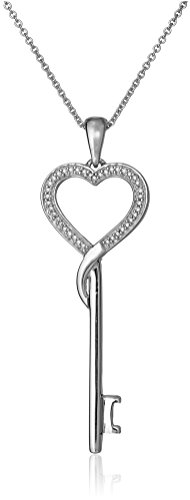 Jewelili Sterling Silver 1/10 Cttw Natural White Diamond Heart Key Pendant Necklace, 18' Rolo Chain