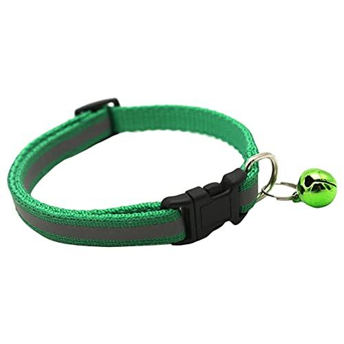 MagiDeal Nuevo 1 Piezas Perro Gato Collar Luminoso Collar Ajustable Parche Reflectante Collar Noche Intermitente Luminoso Collares para Mascotas Seguridad Que - Verde Oscuro