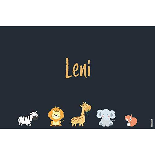 schildgetier Leni Türschild Namensschild Leni Geschenk mit Namen und süßen Tier Motiven 30 x 20 cm Dekoschild Schild mit Tieren