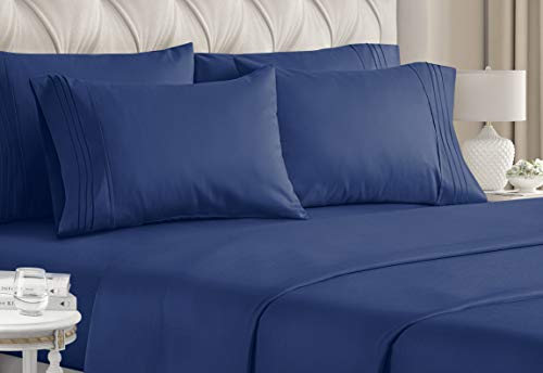 California King Size Sheet Set - 6 Piece Set - Hotel Luxury Bed Sheets - Extra Soft - Deep Pockets - Easy Fit - Breathable & Cooling - Wrinkle Free - Navy Blue Bed Sheets - Cali Kings Sheets - Royal