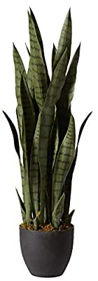 Nearly Natural, Green 4855 35in. Sansevieria with Black Planter