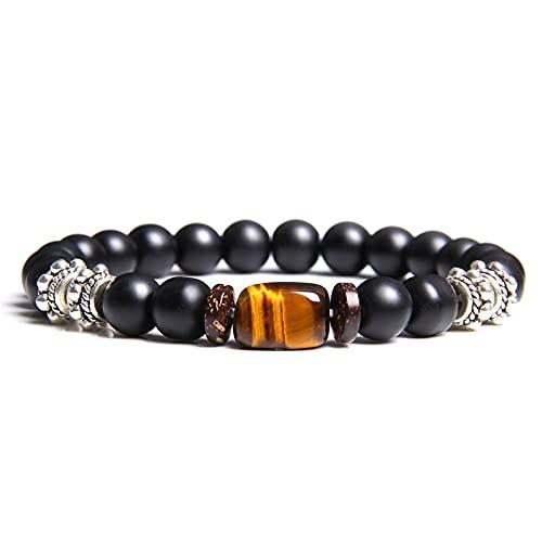 XiaoYing Pulsera de cuentas de piedra de ojo de tigre natural para hombre, cordón elástico, pulsera de cuentas de lava, regalo para hombre (color: B, longitud: 19 cm)