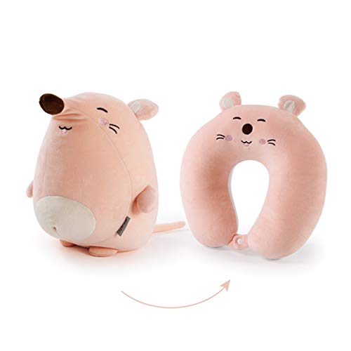 Kids Travel Pillows , U-Shaped Neck Pillow for Children, Convertible 2-in-1 Pillow/Toy (Mouse)