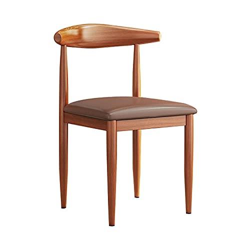 LIPINCMX PU-Leder Esszimmerstühle Stühle im europäischen Stil mit Rückenlehne, braune Holzbeine, Beistellstühle für Esszimmer Wohnzimmer Küche Restaurant