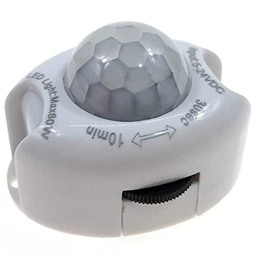 momok Detector de Movimiento Infrarrojo PIR DC5-24V Interruptor Temporizador de Encendido y Apagado AutomáTico LáMpara Sensor de Movimiento PIR de Cuerpo Luz LED para el Hogar (Blanco)