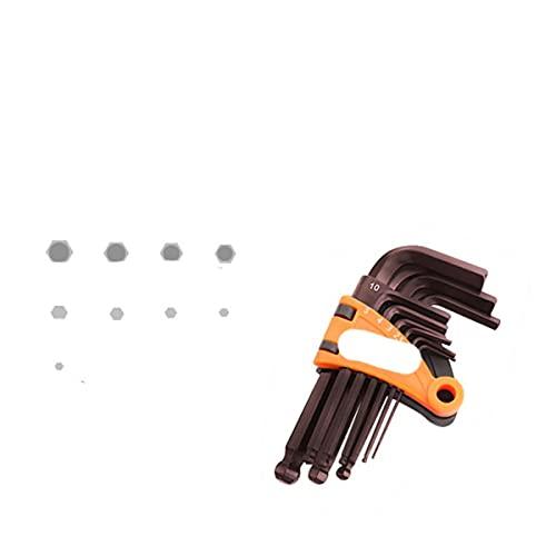 Juego de llaves hexagonales Destornillador Llave Allen universal 1.5mm-10mm 9PCS Llave de bola plana hexagonal tipo L de doble extremo Herramientas de mano m¨¦tricas-BOLA S