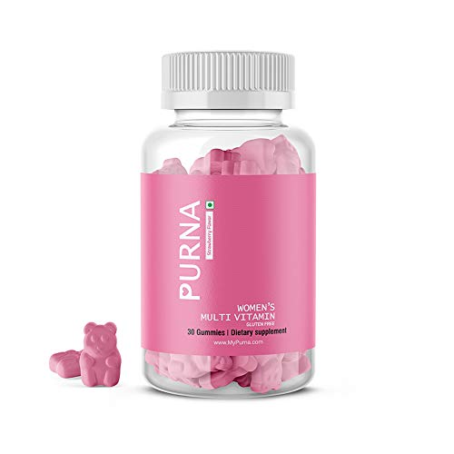 Purna Immunity Multivitamin Strawberry Gummies for Women (Vitamins A, C, D, E, B12 and 8 Minerals), 30 Gummy Bears (one per day)