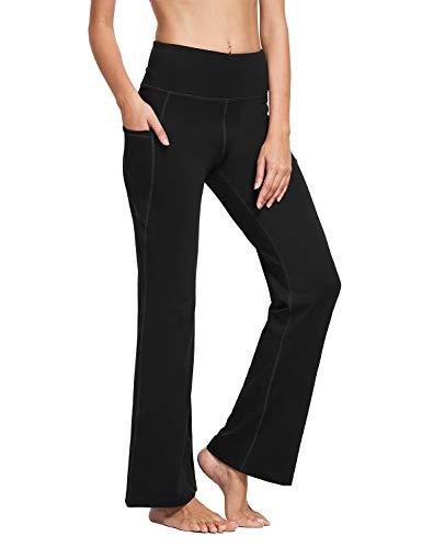 BALEAF Damen Bootcut Yoga Hose mit Seitentasche Hoch Teile Flare Yogahose Sporthose Schwarz M