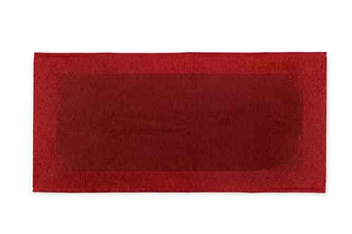 HomeLife Alfombra de cocina antideslizante lavable largo 55 x 240 cm Made in Italy | Alfombra moderna de chenilla de color liso | Alfombra larga multicolor con borde remachado [55 x 240 cm, burdeos]
