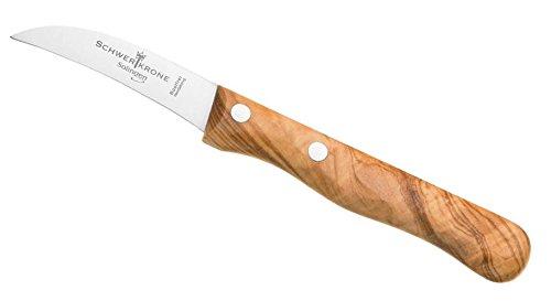 Schwertkrone Messer Solingen Germany Obstmesser/Gemüsemesser Scharf/Schälmesser Holz Olive 15,5 cm gebogen rostfrei Vogelschnabel (1)