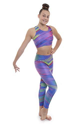 Velocity Pro Ensemble haut court et legging pour filles Idéal pour la gym, l'entraînement, la course, l'été, la gymnastique, le yoga Violet Samba 9–10 ans