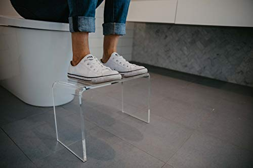Squatty Toilet Step Squat Stool. This PROPPR Clear Squatting Stool is Modern and Discreet. Easy to Clean and Hygienic, Blends Seamlessly Into Any Bathroom.