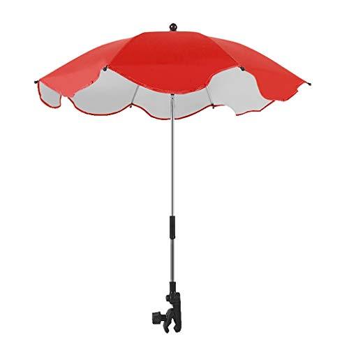 weichuang 1 juego de paraguas para cochecito de bebé, paraguas de plástico plateado, protección solar, universal, portátil, paraguas (color rojo)